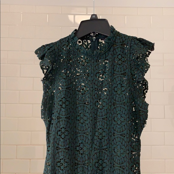Zara Dresses & Skirts - Zara Emerald Green Lace Cocktail Dress (S) New!